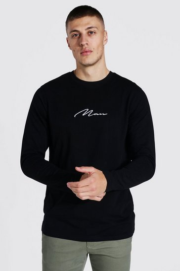 Black Man Signature Embroidered Long Sleeve T-shirt