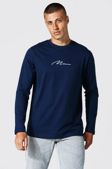 Navy Man Signature Embroidered Long Sleeve T-shirt