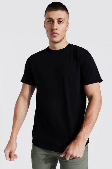 Black Basic Roll Sleeve T-shirt