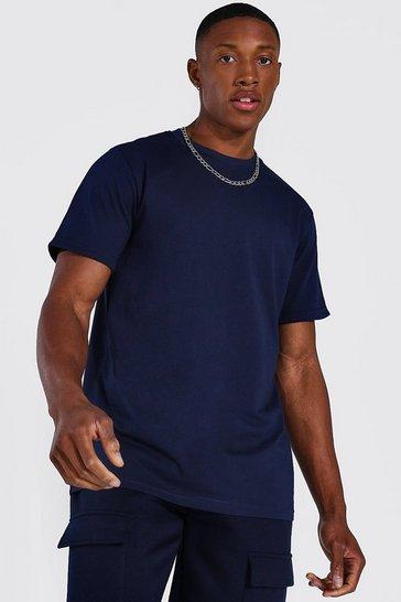 Navy Basic Roll Sleeve T-shirt