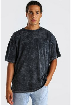 Black Oversized Embroidered Acid Wash T-Shirt