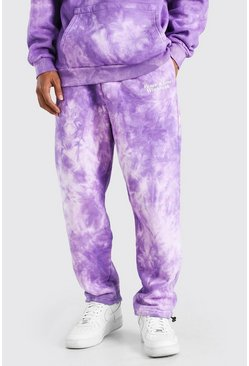 Purple Tie Dye Loose Fit Jogger With Bunjee Cords
