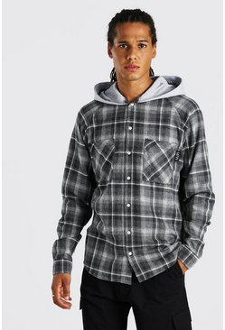 Charcoal grey Heavy Weight Plaid Jersey Hooded Overshirt