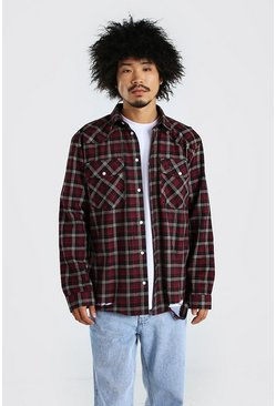 Red Western Check Shirt  With Raw Hem