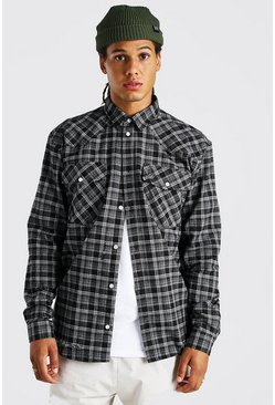 Charcoal grey Oversized Destroyed Hem Western Check Shirt