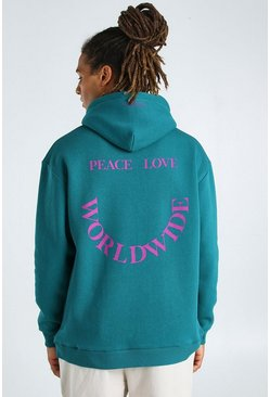 Teal green Oversized Hoodie With Front And Back Print