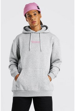 Grey Oversized Hoodie With Front And Back Print