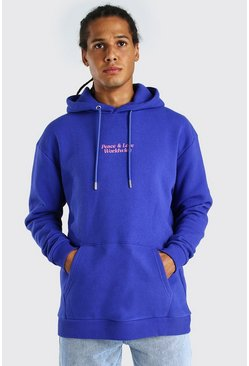 Blue blå Oversized Hoodie With Front And Back Print