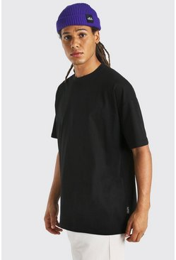 Black MAN Tab Longline Basic T-Shirt