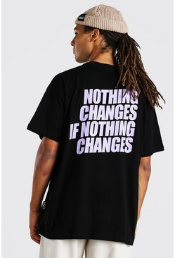 "T-shirt oversize con stampa ""Nothing Changes"", Nero"
