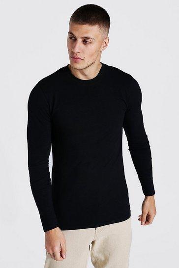Black Muscle Fit Basic Long Sleeve T-shirt