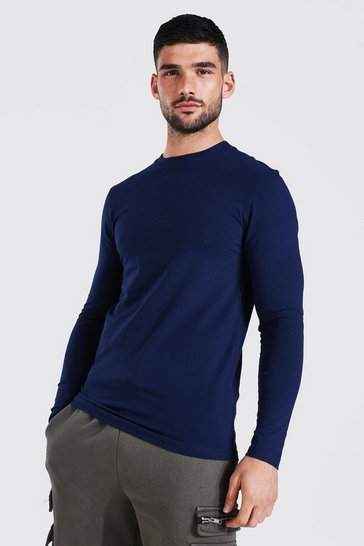 Navy Muscle Fit Basic Long Sleeve T-shirt