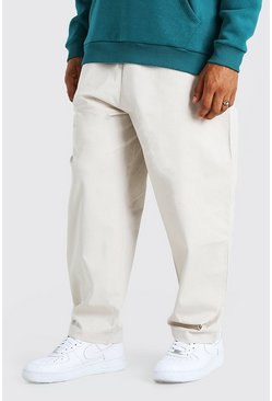 Stone beige Skate Fit Cropped Chino With Elasticated Waistband