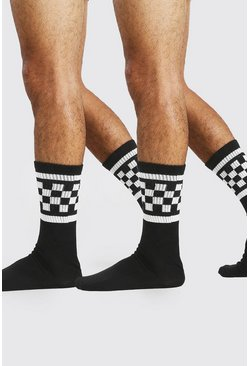 Black Checkerboard 2 Pack Socks