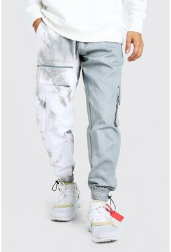Grey Official MAN Twill Spliced Tie Dye Cargo Trouser