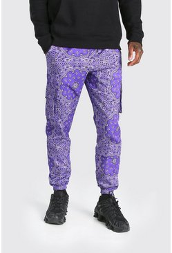 Purple Official MAN Twill Belted Bandana Cargo Trouser