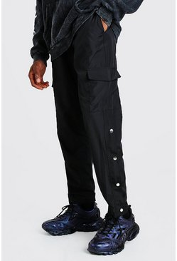 Black Nylon Cargo Trouser With Side Poppers