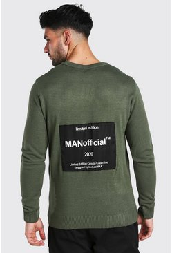 Khaki MAN Official Back Print Crew Neck Jumper