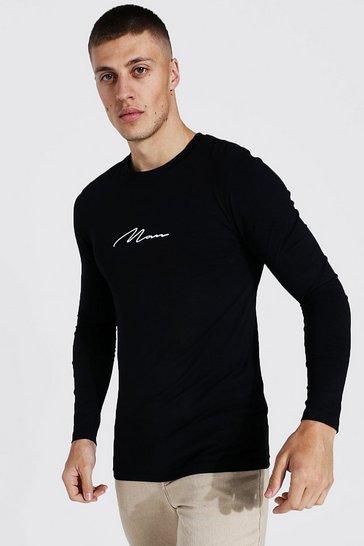 Black Muscle Fit Man Signature Long Sleeve T-shirt