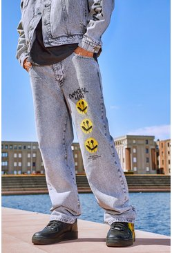 Grey Loose Fit Jeans With Graphic Print