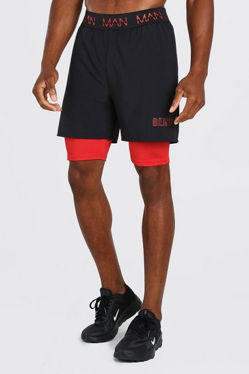 Black MAN Active X Beast 2 In 1 Waistband Shorts