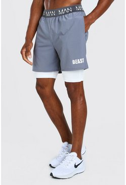 Charcoal grey MAN Active X Beast 2 In 1 Waistband Shorts