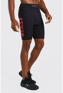 Black MAN Active X Beast Compression Printed Shorts