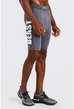 Charcoal grey MAN Active X Beast Compression Print Shorts