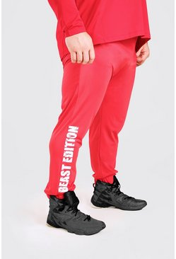 Red röd MAN Active X Beast Tapered Printed Joggers