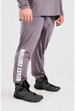 Charcoal grå MAN Active X Beast Printed Tapered Joggers