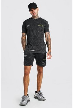Charcoal grey Acid Wash Eagle Back Print T-Shirt & Short Set