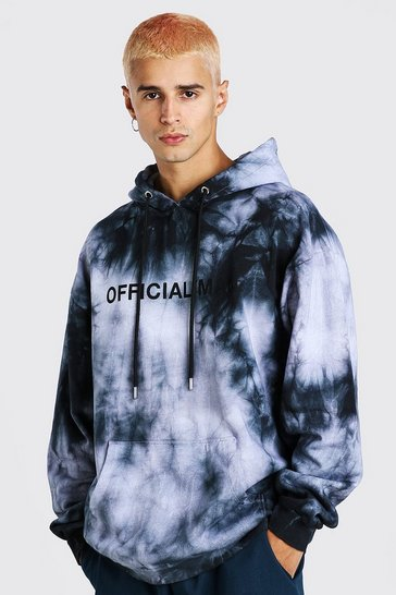 Black Oversized MAN Official Tie Dye Hoodie