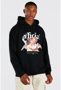 Black svart Oversized Official Print Hoodie