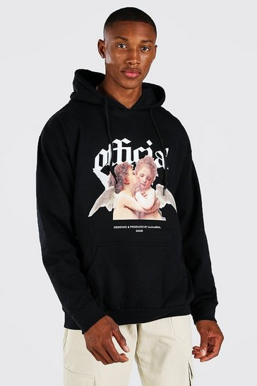 Black Oversized Official Print Hoodie
