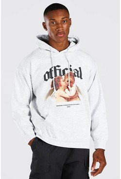 Grey marl grey Oversized Official Print Hoodie