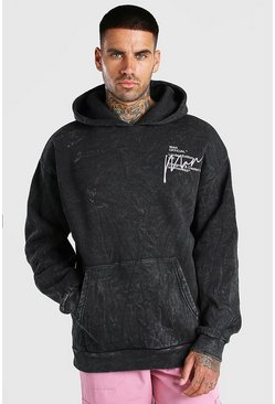 Charcoal grey Oversized MAN Back Print Acid Wash Hoodie
