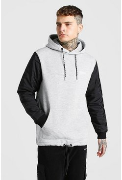 Grey marl grey MAN Official Hoodie With Puffer Sleeve