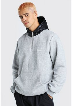 Grey marl grey Hoodie With Puffer Zip Hood and Drawcord Hem