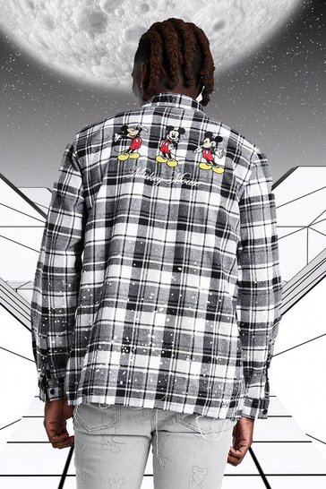 White Oversized Disney Mickey Embroidered Check Shirt