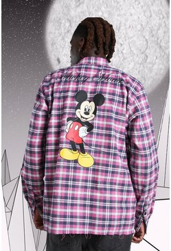 T-shirt à carreaux oversize imprimé Disney Mickey, Rose