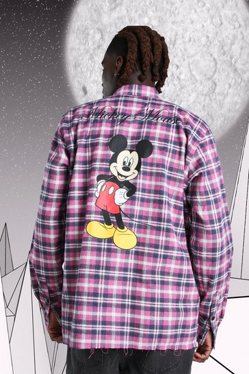 Pink Oversized Disney Mickey Print Check Shirt