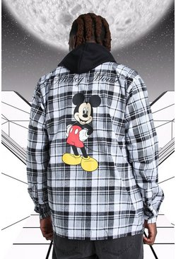 White Oversized Disney Mickey Print Check Shirt