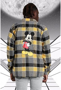 Yellow Oversized Disney Mickey Print Check Shirt