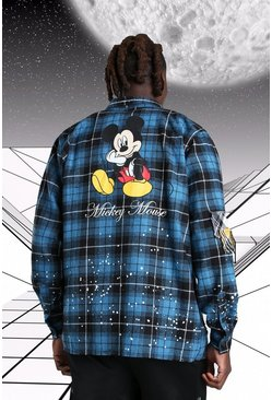 Teal Oversized Disney Mickey Paint Splatter Check Shirt