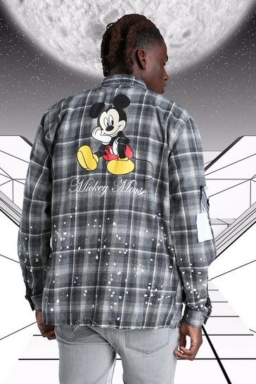 Grey Oversized Disney Mickey Paint Splatter Check Shirt