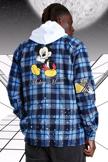 Blue Oversized Disney Mickey Paint Splatter Check Shirt