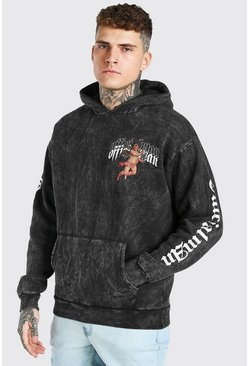Charcoal grey Oversized Acid Wash Hoodie With Sleeve Print