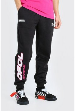 Black MAN Official Printed Loose Fit Jogger