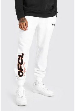 White MAN Official Printed Loose Fit Jogger