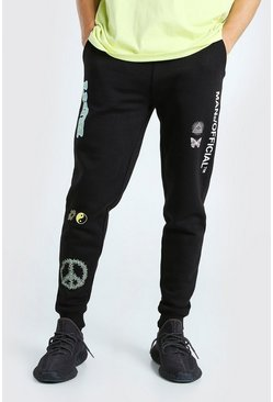Black MAN Official Printed Regular Fit Jogger